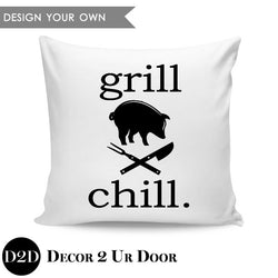 Grill & Chill Square Throw Pillow Cover
