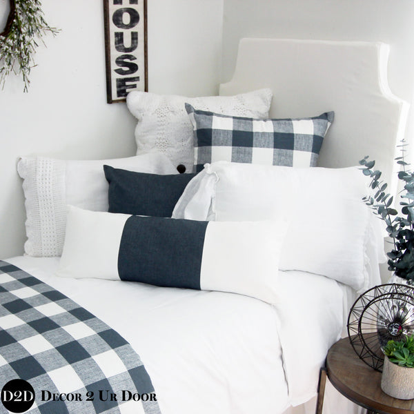 Gunmetal & White Pillow Pile