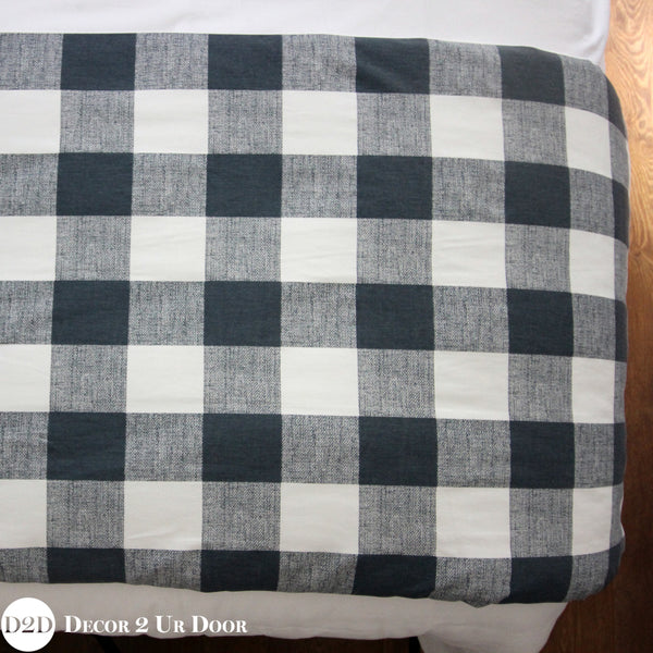 Gunmetal Gingham Plaid Bed Scarf