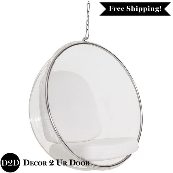 Modern Hanging Clear Acrylic Ghost Globe Lounge Chair