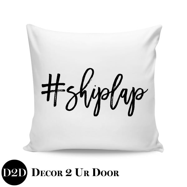 Hashtag Shiplap Farmhouse Square Throw Pillow Cover