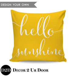 Hello Sunshine Square Throw Pillow Cover