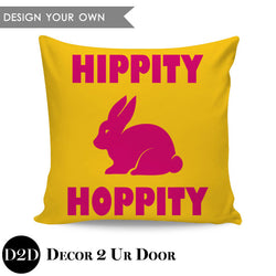Hippity Hoppity Easter Square Throw Pillow Cover