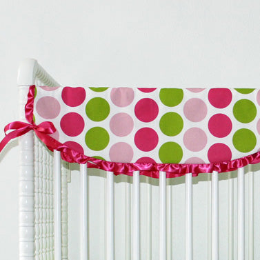 Hot Pink & Lime Green Dots Baby Crib Rail Cover