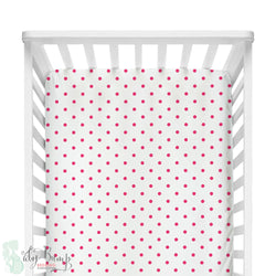 White & Hot Pink Dots Fitted Crib Sheet
