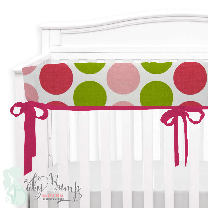 Hot Pink & Lime Green Dots 2-in-1 Crib Bumper/Rail Cover