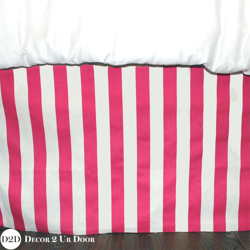 "Hot Pink Stripes 15"" Drop Bed Skirt"