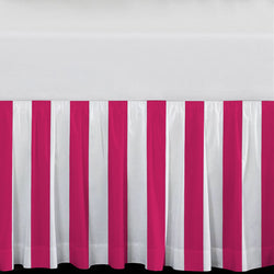 Hot Pink Stripes Extra Long Dorm Bed Skirt