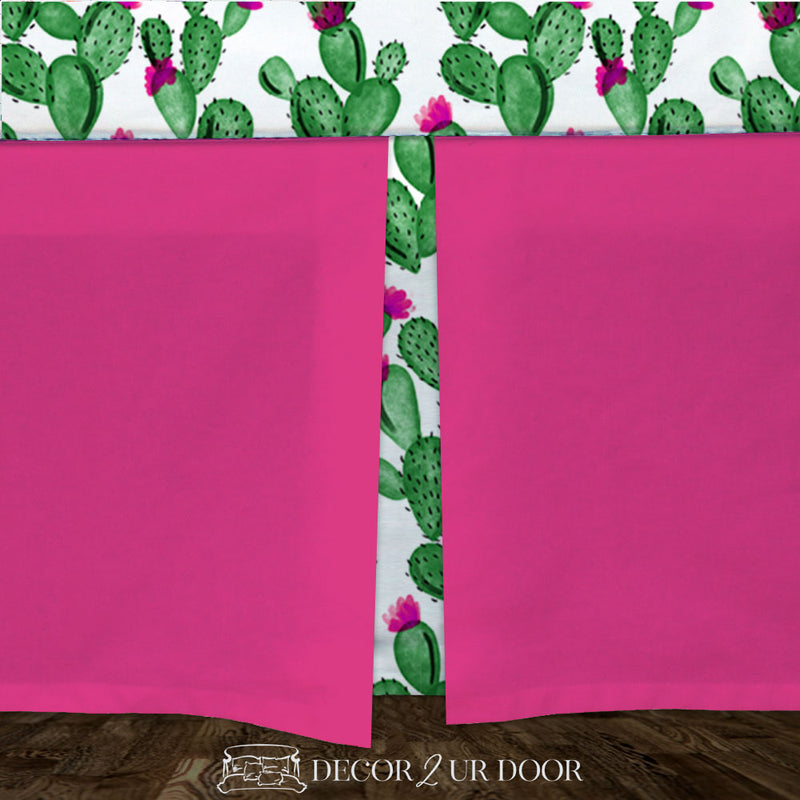 Watercolor Cactus and Hot Pink Baby Crib Skirt