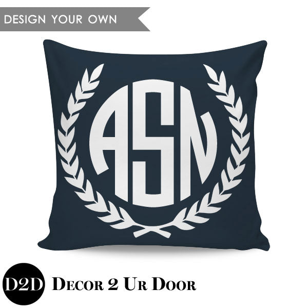Laurel Crest Border Monogram Square Personalized Pillow Cover