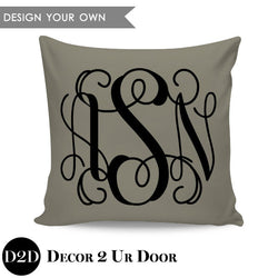 Vine Initials Monogram Square Personalized Pillow Cover