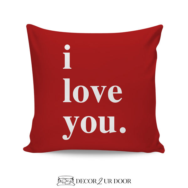I Love You Square Throw Pillow Cover