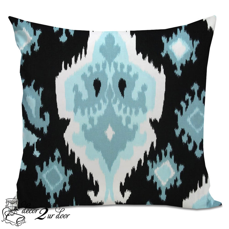 Regatta Blue Ikat Designer Euro Pillow Cover
