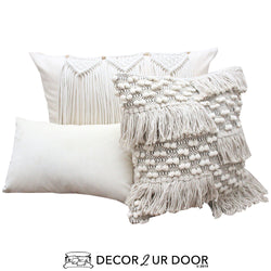 Black and Natural Macrame Pillow Pile
