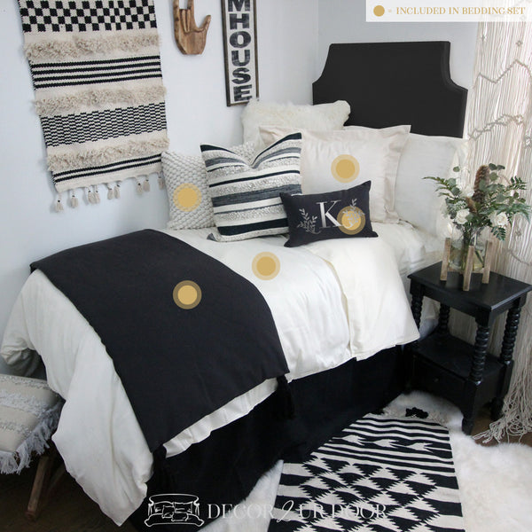 Black & Ivory Tassel Dorm Bedding Set