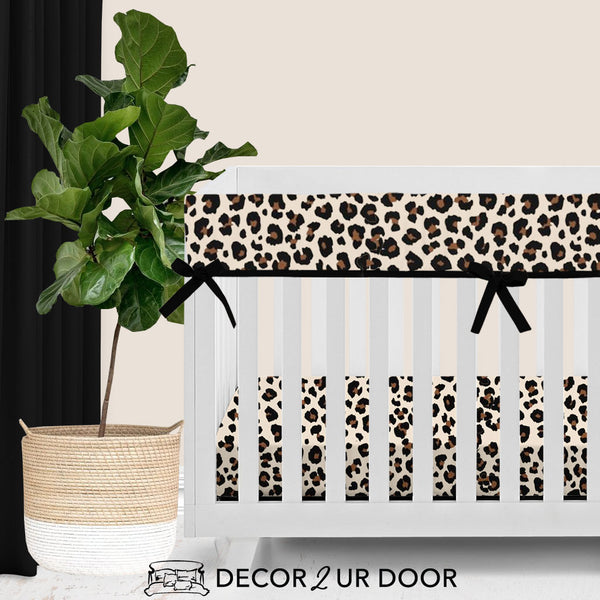 Cheetah Print Bumperless Crib Bedding Set