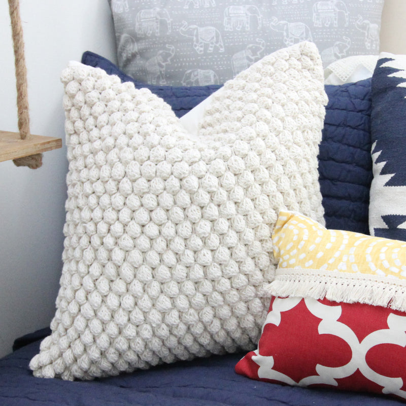 Ivory Crochet Dot Pom Pom Square Pillow Cover