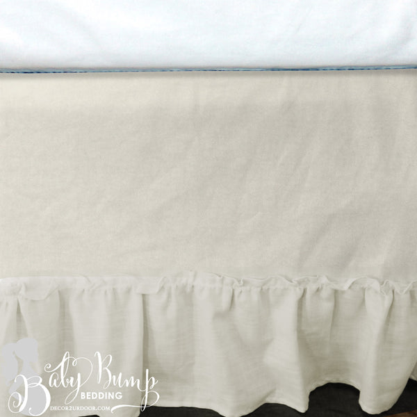 Frilly Ivory Ruffled Baby Crib Skirt