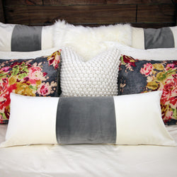 Ivory & Grey Velvet Long Lumbar Pillow Cover