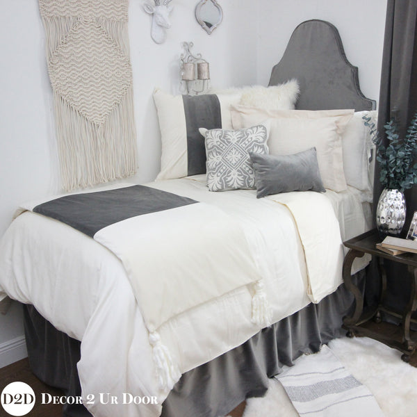 Solid Ivory Duvet Cover and Sham Set