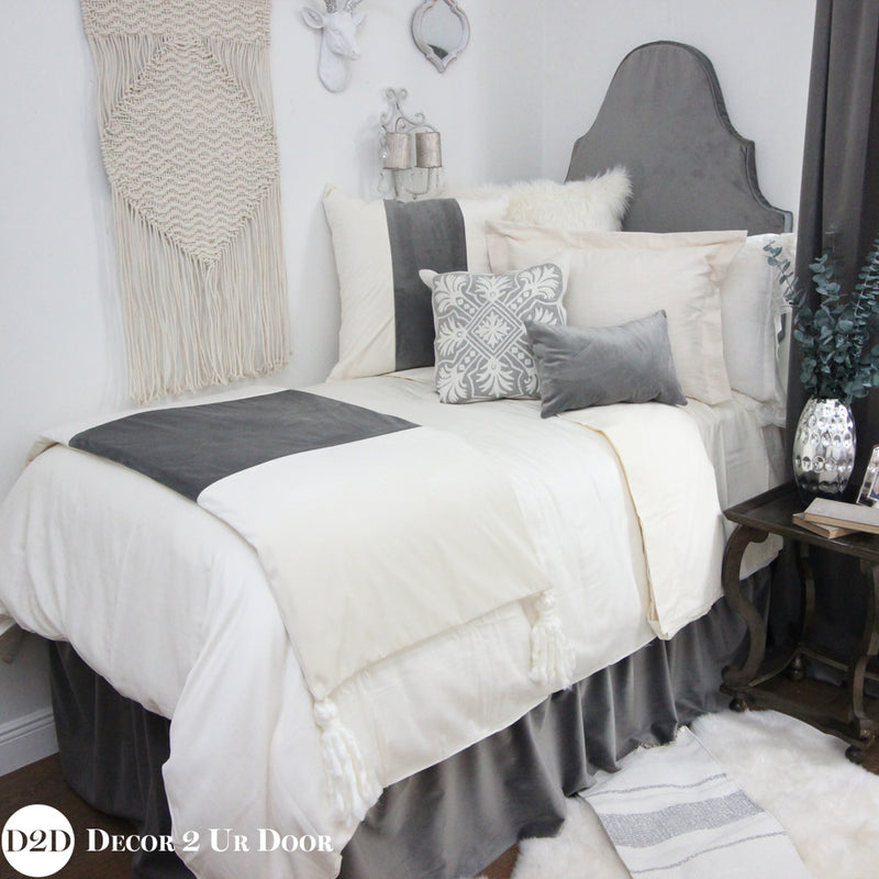 Grey Velvet Dorm Bed Skirt & Headboard Bundle
