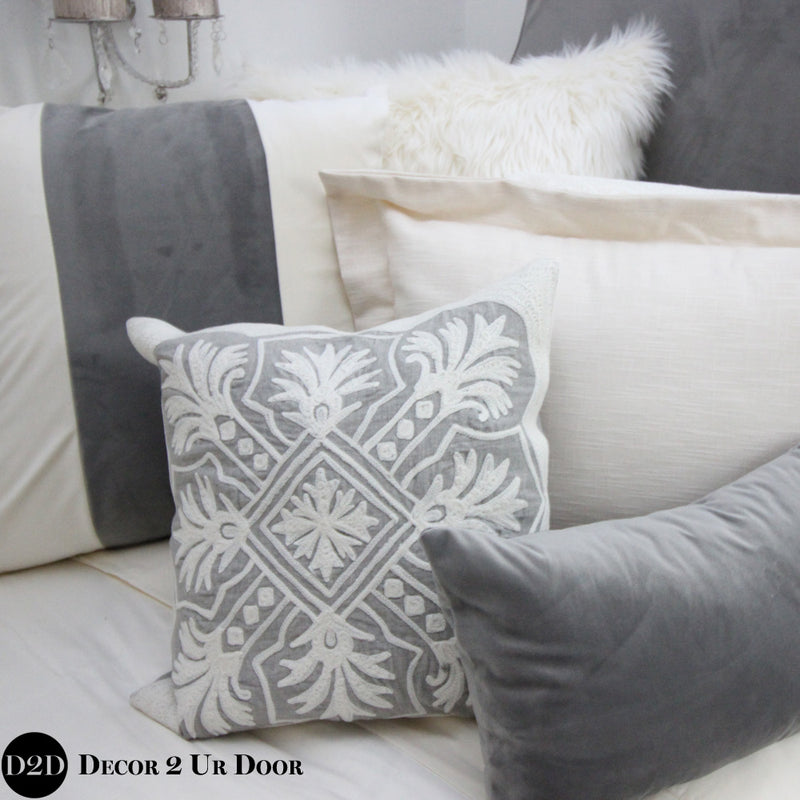 Ivory & Grey Velvet Dorm Bedding Set