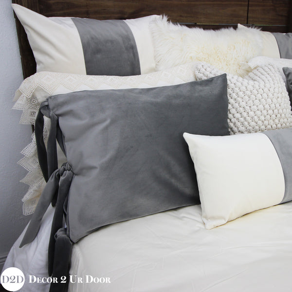 Grey & Ivory Velvet Designer Bedding Collection