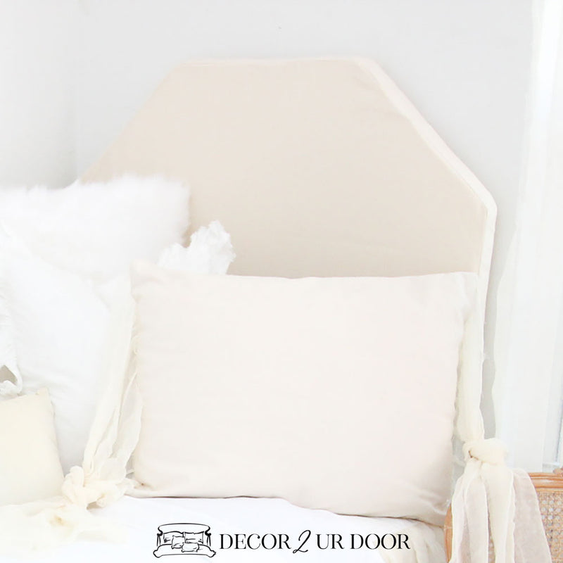 Solid Ivory Hex Padded Fabric Headboard