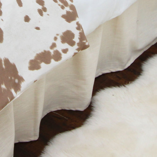 "Solid Ivory Linen 15"" Drop Bed Skirt"
