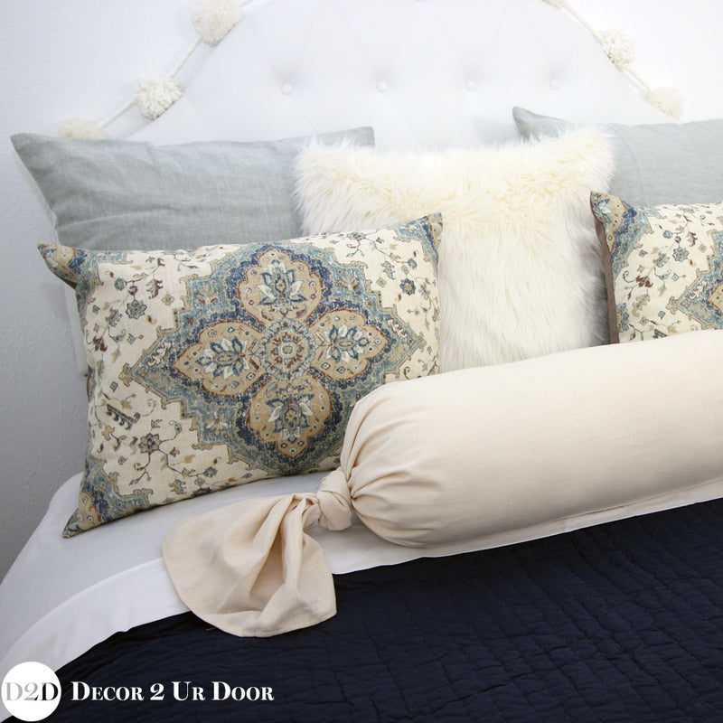 Solid Ivory Linen Tie Roll Pillow Cover