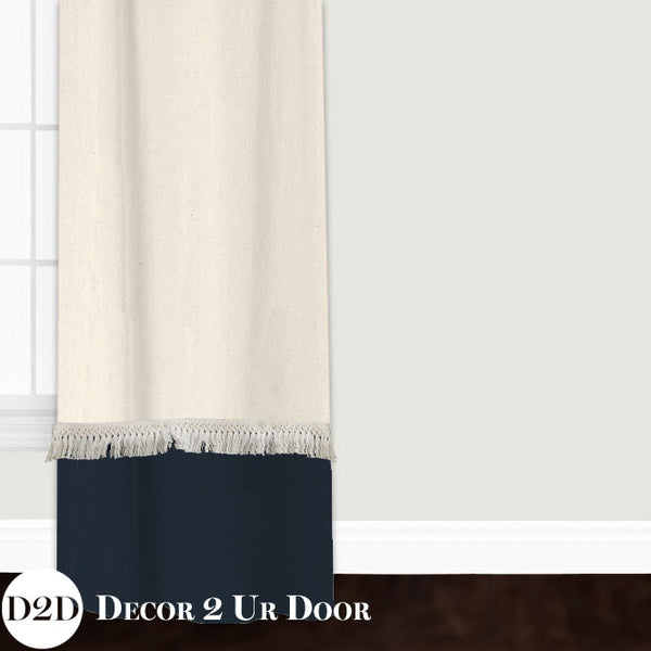 Ivory & Navy Moroccan Bohemian Fringe Custom Window Curtain/Closet Panel