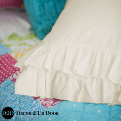 Set of 2 Solid Ivory Ruffled Pillowcases