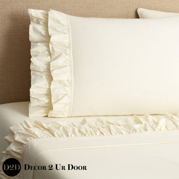 Ivory Ruffled Designer Sheet Set
