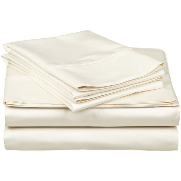 Solid Ivory 300 Thread Count 100% Cotton Sheet Set