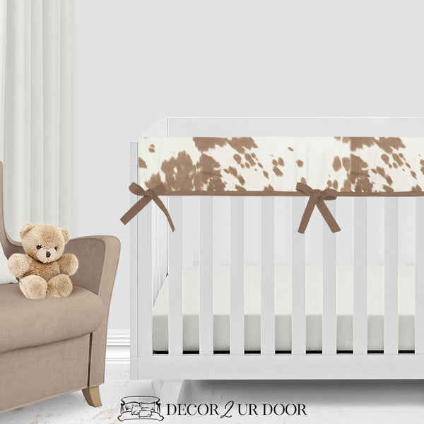 Tan Cowhide Bumperless Crib Bedding Set