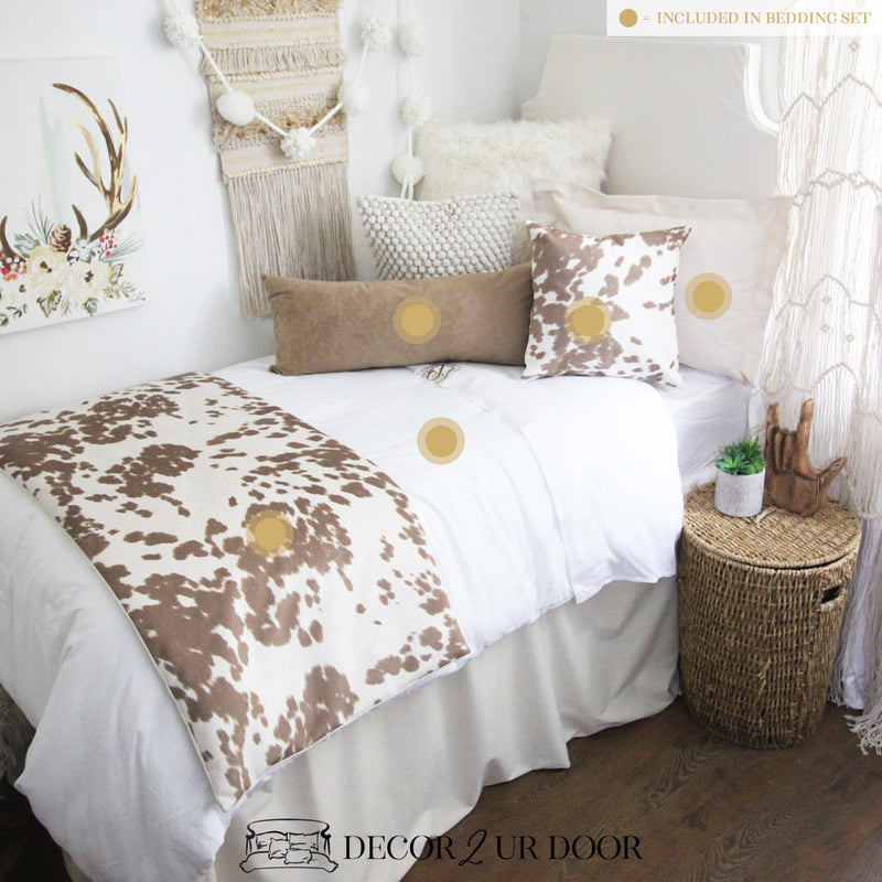Ivory & Tan Cowhide Dorm Bedding Set