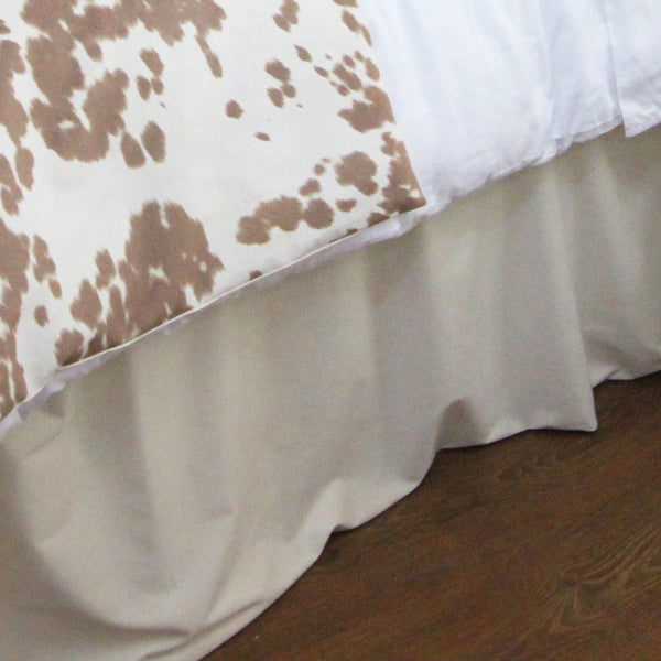 Solid Ivory Velvet Extra Long Dorm Bed Skirt