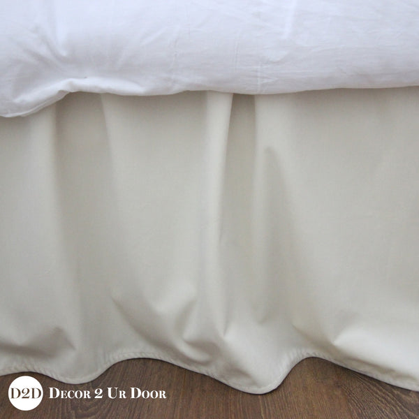 "Solid Ivory Velvet 15"" Drop Bed Skirt"
