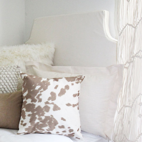 Solid Ivory Velvet Padded Fabric Headboard