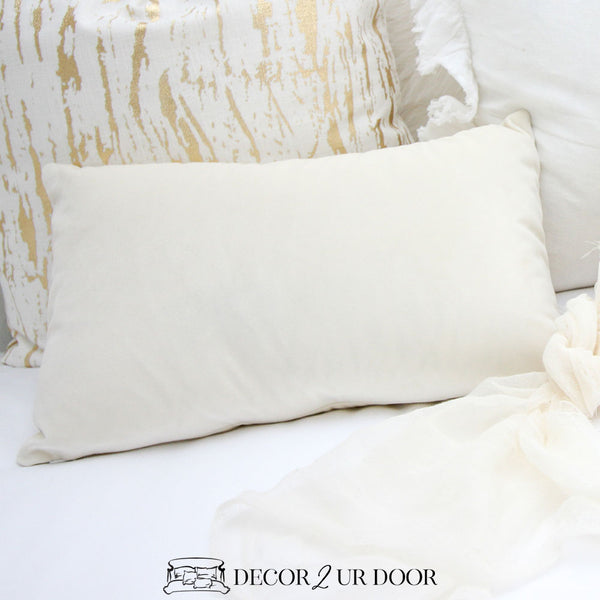 Ivory Velvet Lumbar Pillow Cover