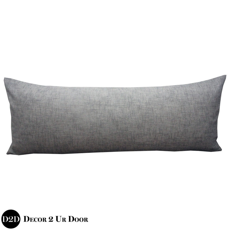 Textured Grey Long Lumbar Pillow Cover