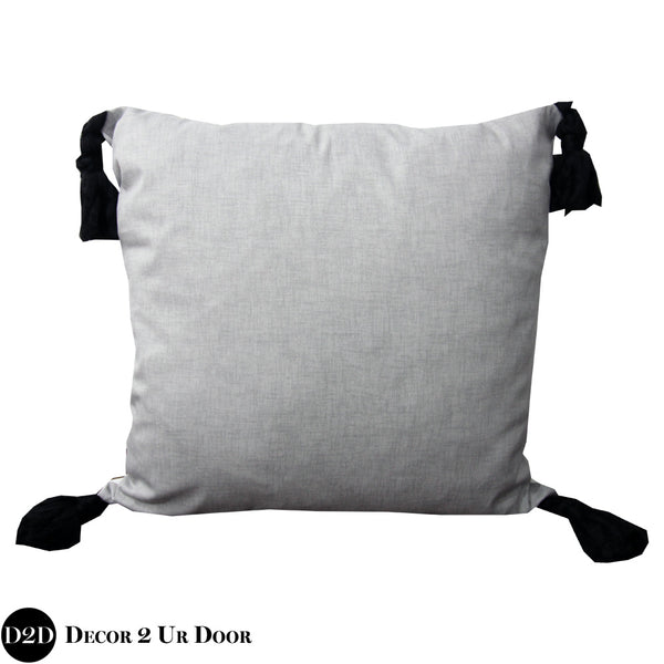 Storm Grey & Black Tassels Euro Pillow Cover
