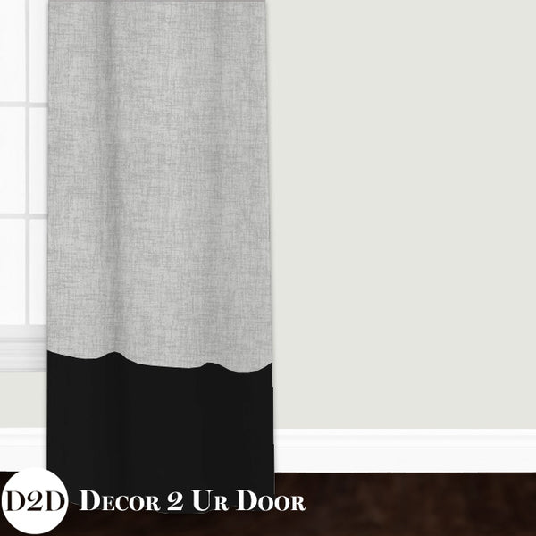 Grey Jackson & Black Custom Window Curtain/Closet Panel