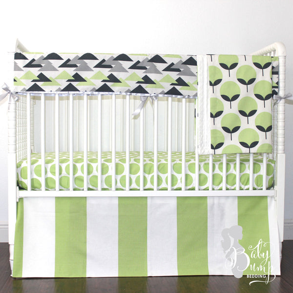 Kiwi Green & Charcoal Gray Baby Boy Crib Bedding Set