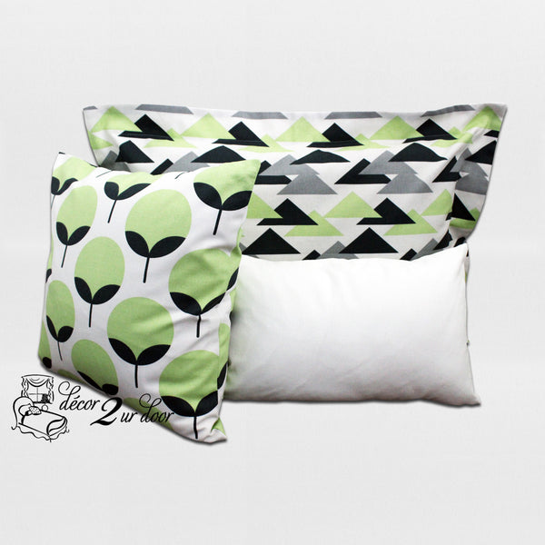 Kiwi & Charcoal Geometric Dorm Bedding Set