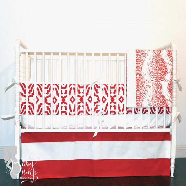 Lava Red Gender Neutral Baby Crib Bedding Set