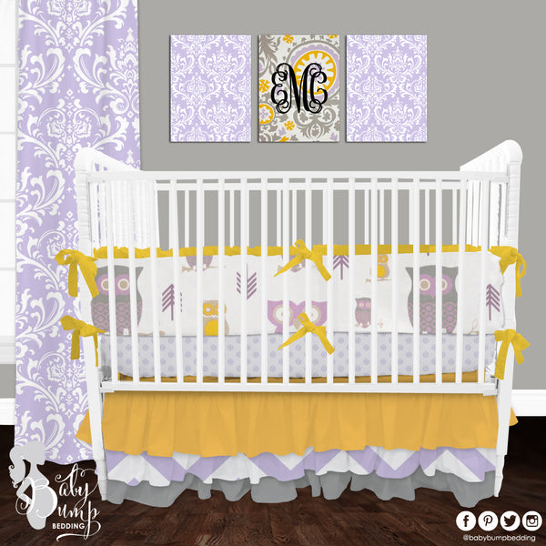 Lavender and Yellow Owl Baby Girl Crib Bedding Set