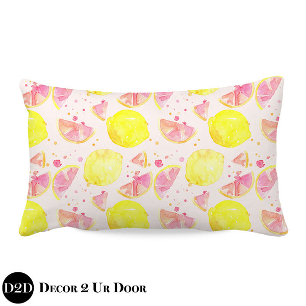 Watercolor Pink Lemonade Lumbar Nursery Throw Pillow Cover