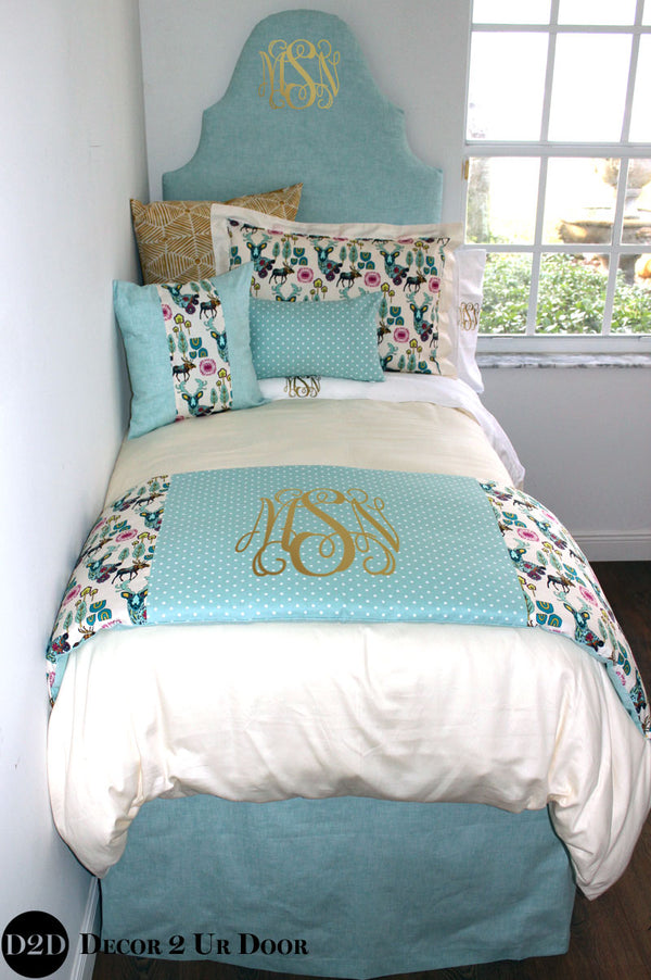 Light Blue, Gold & Multicolor Deer Woodland Dorm Bedding Set