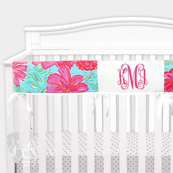 Lilly Blue & Pink Preppy Poppy Baby Crib Rail Cover